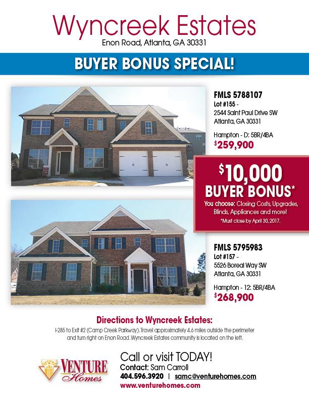 Buyer Bonus Flyer, Wyncreek Estates