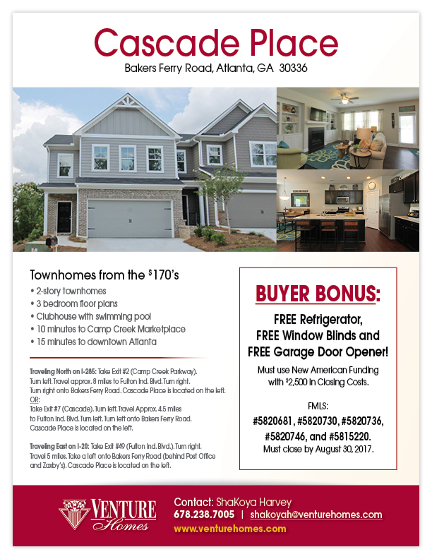 Buyer Bonus Cascade Place Townhomes Atlanta Ga 30336