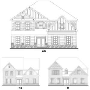 Southern Lights at Great Sky's Laurel single-family floor plan elevations