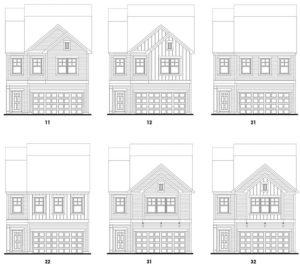 Old Mill's Lexington single-family floor plan elevations